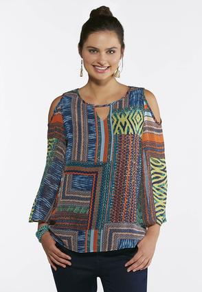 Plus Size Tribal Cold Shoulder Top | Tuggl