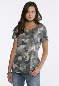 Plus Size Relaxed Camo Tee