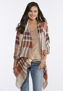 Plus Size Brown Plaid Flyaway Jacket