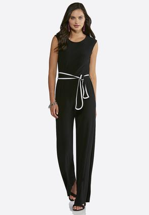 Petite Black And White Belted Jumpsuit