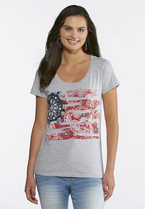 Plus Size Paisley Flag Tee