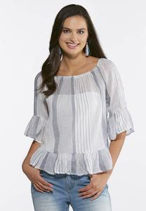 Stripe Convertible Bell Sleeve Top