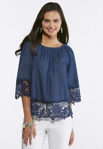 Chambray Lace Trim Poet Top