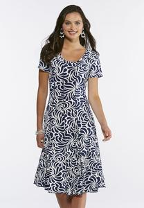 Navy Swirl Puff Print Dress