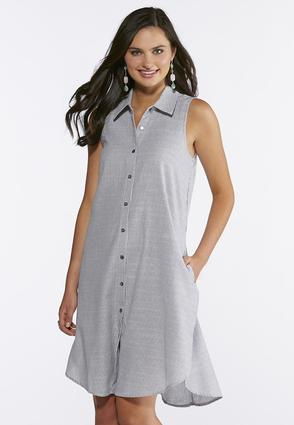 Gray And White Striped Shirt Dress | Tuggl