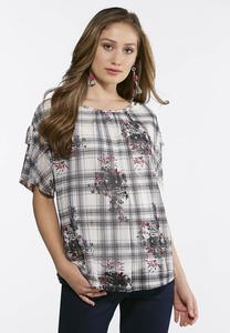 Plus Size Plaid Floral Top