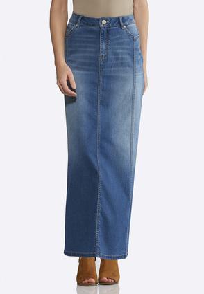 Denim Multi Panel Maxi Skirt   Tuggl