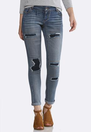 Distressed Dark Backing Jeans   Tuggl
