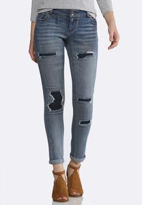 Distressed Dark Backing Jeans