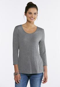 Plus Size Heathered Scoop Neck Tee