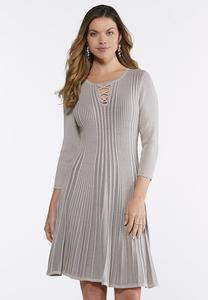 Ribbed Fit and Flare Dress