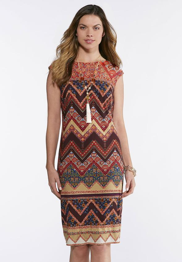 Plus Size Chevron Floral Midi Dress Dresses Cato Fashions