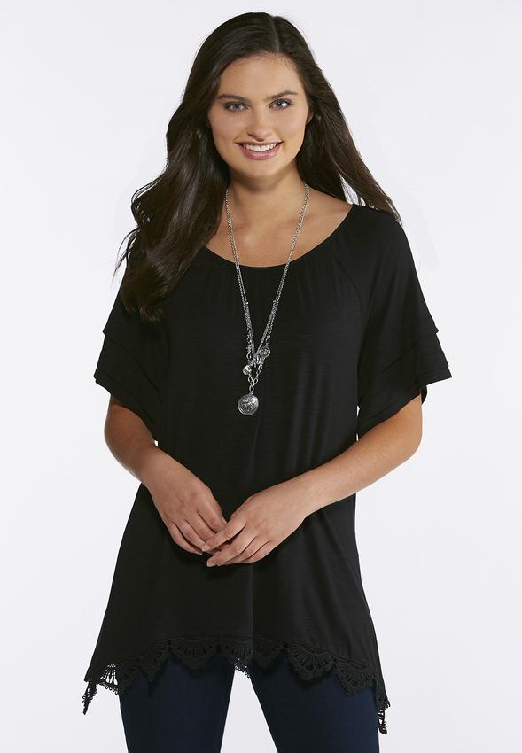 Plus Size Lace Trim Tunic Tops Cato Fashions
