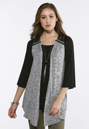Plus Size Marled Lace Fringe Vest at Cato in Brooklyn, NY   Tuggl