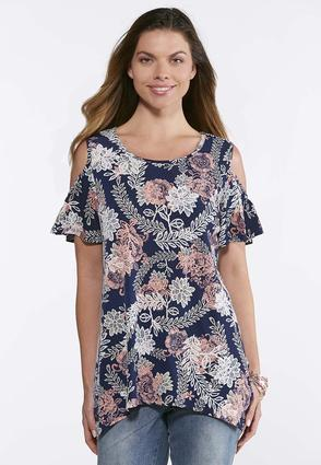 Navy Puff Floral Print Top