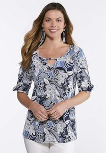 Plus Size Blue Puff Print Top