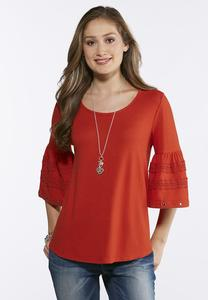 Grommet And Lace Bell Sleeve Top