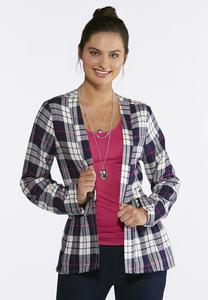 Plaid Peplum Jacket
