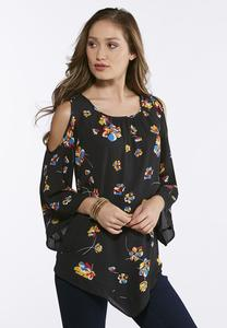 Plus Size Floral Cold V-Hem Shoulder Top