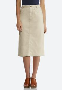 Plus Size Khaki Denim Skirt