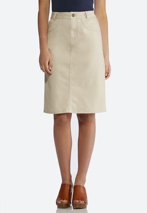 Khaki Denim Skirt   Tuggl