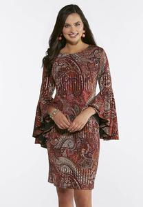 Plus Size Retro Bell Sleeve Paisley Dress