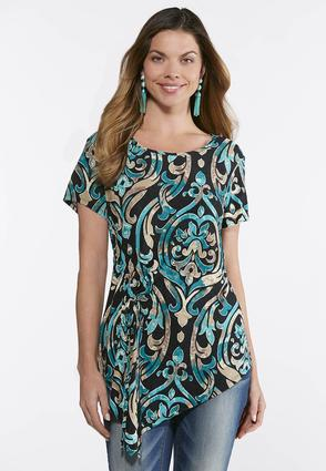 Plus Size Cinched Tie Puff Print Top