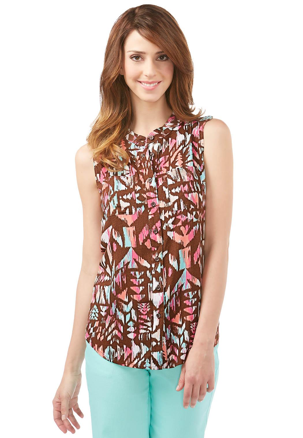 Tops ⁄ Shirts & Blouses ⁄ Mandarin Aztec Sleeveless Shirt (Style