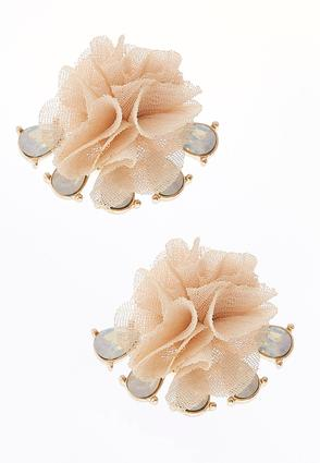 Faceted Fabric Flower Earrings | Tuggl