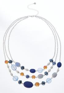 Triple Layered Navy Bead Necklace