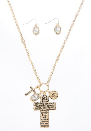 Inspirational Cross Necklace Set