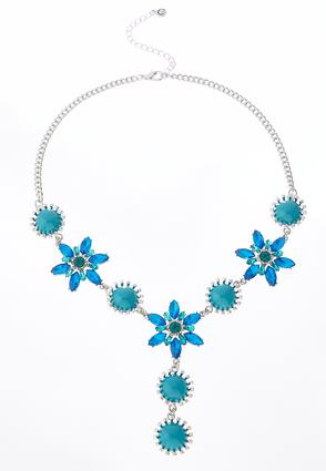Glass Stone Flower Necklace