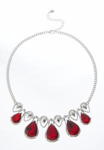 Tear Shaped Beaded Bib Necklace