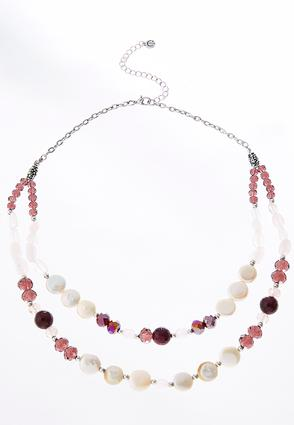 Layered Wine Pearl And Bead Necklace