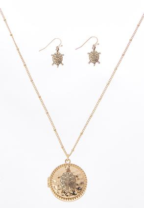 Turtle Locket Necklace Set