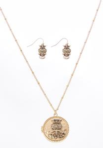Owl Locket Necklace Set