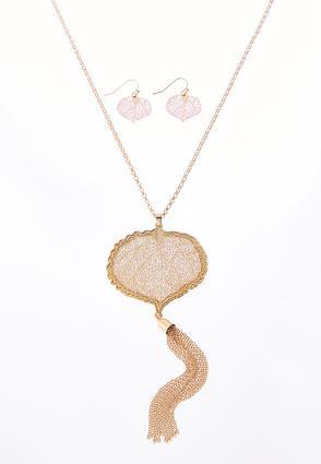 Bordered Leaf Tassel Necklace Set | Tuggl