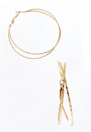 Hammered Criss Cross Hoops