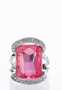 Pink Glass Stone Statement Ring