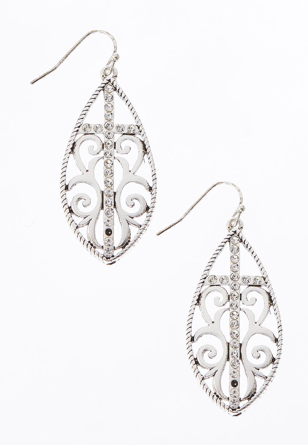 Rhinestone Cross Shield Earrings