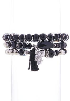 Owl Charm Stretch Bracelet Set