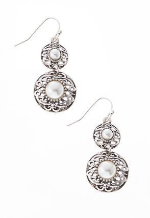 Filigree Pearl Dangle Earrings | Tuggl