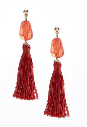 Red Bead Tassel Earrings | Tuggl
