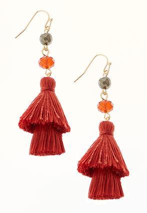 Beaded Red Tassel Earrings | Tuggl