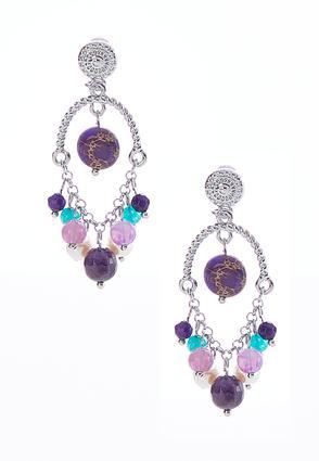 Dangle Purple Bead Earrings | Tuggl