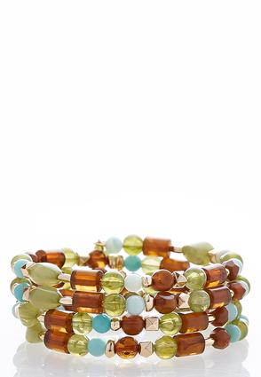 Green Bead Coil Bracelet | Tuggl