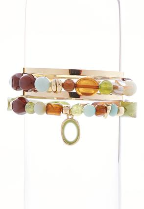 Green Bead And Bangle Bracelet Set | Tuggl