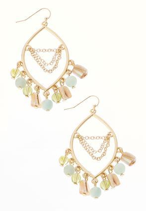 Shades Of Green Dangling Bead Earrings | Tuggl