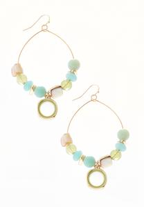 Green Mixed Bead Hoops