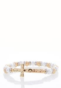 Two-Tone Cross Stretch Bracelet